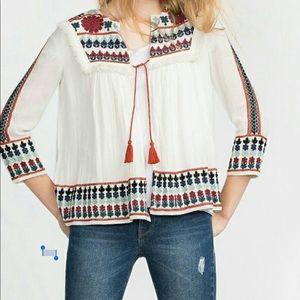 Zara Trafaluc Medium jacket, embroidered, tassels